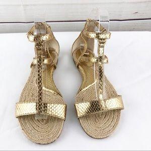 Ml2 Michael Kors Gold Espadrille Gladiator Sandal